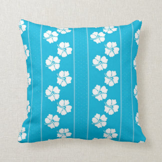 Blaues und weißes Polka-Punkt-Hibiskusthrow-Kissen Kissen