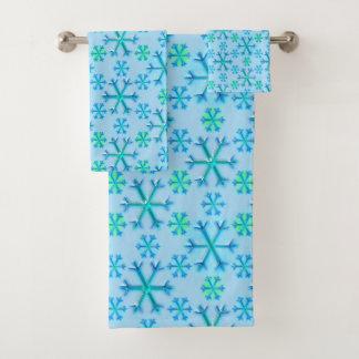 Blaues und weißes Schneeflocke-Hexagon-Muster Badhandtuch Set