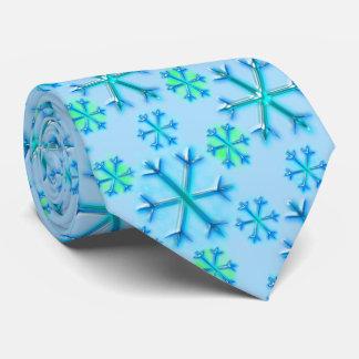 Blaues und weißes Schneeflocke-Hexagon-Muster Bedruckte Krawatte