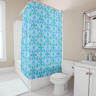 Blaues und weißes Schneeflocke-Hexagon-Muster Duschvorhang