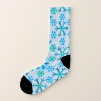 Blaues und weißes Schneeflocke-Hexagon-Muster Socken