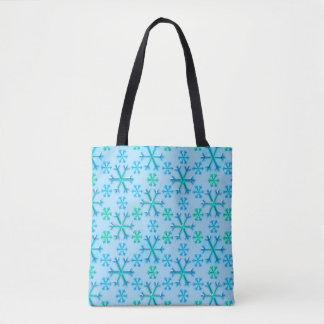 Blaues und weißes Schneeflocke-Hexagon-Muster Tasche