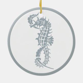 Blaues und weißes Seepferd-Logo Rundes Keramik Ornament