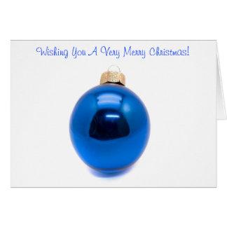 Blaues Verzierungs-Flitter-Weihnachten Karte