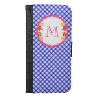 Blaues Vintages Gingham-Blumenmonogramm iPhone 6/6s Plus Geldbeutel Hülle