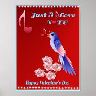 Blaues Vogel-und Liebe-Anmerkung-mit Buchstaben Poster