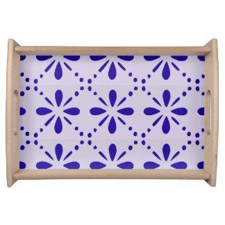 Blaues Volkskunst-Blumen-Muster Tablett