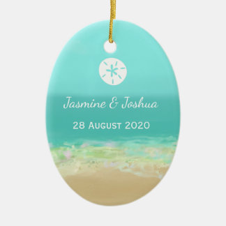 Blaues Wasser des Aqua/gemalte Strandküste Keramik Ornament