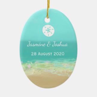 Blaues Wasser des Aqua/gemalte Strandküste Ovales Keramik Ornament
