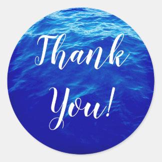 Blaues Wasser-Kalligraphie danken Ihnen Runder Aufkleber