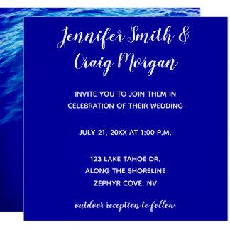 Blaues Wasser-moderne Kalligraphie-Hochzeit Karte