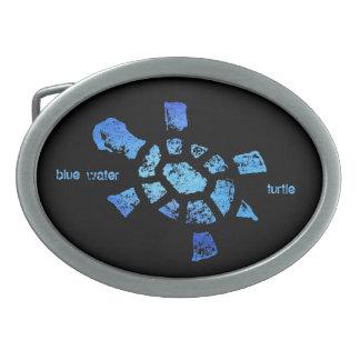 Blaues Wasser-Schildkröte Ovale Gürtelschnallen