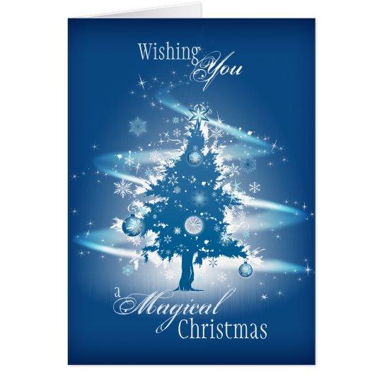 Blaues Weihnachtsbaum-Weihnachten Grußkarte