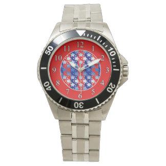 Blaues Weiß spielt rote blaue Streifen die Armbanduhr