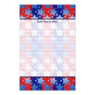 Blaues Weiß spielt rote blaue Streifen die Briefpapier