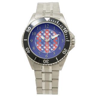 Blaues Weiß spielt rote blaue Streifen die Uhr