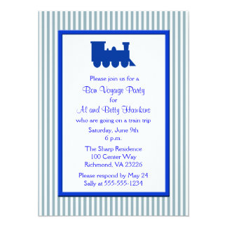 Blaues weißes Streifen-Zug-Reise-Party Karte