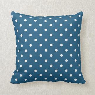 Blaues weißes Tupfen-Wurfskissen Kissen