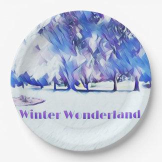 Blaues weißes Winter-Märchenland-künstlerische Pappteller