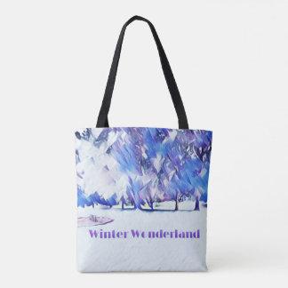 Blaues weißes Winter-Märchenland-künstlerische Tasche