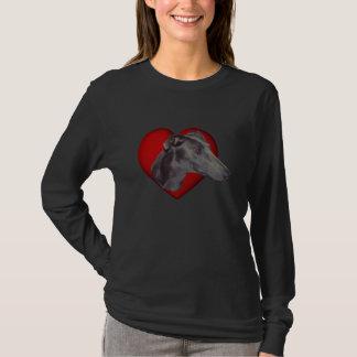 Blaues Windhund-Gesichts-roter Herz-Hundeshirt T-Shirt
