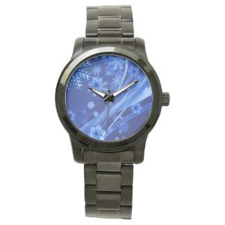 Blaues Winter-Schneeflocke-Weihnachten Armbanduhr