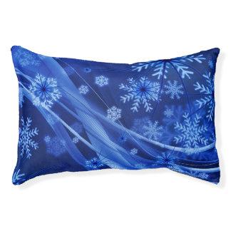 Blaues Winter-Schneeflocke-Weihnachten Haustierbett