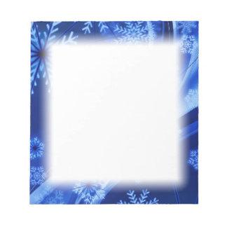 Blaues Winter-Schneeflocke-Weihnachten Notizblock