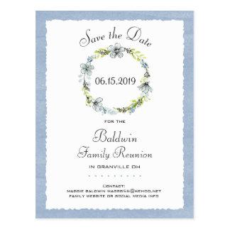 Blaues Wreath-Land-Familien-Wiedersehen Save the Postkarte