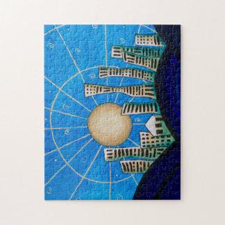 Blaues Wüsten-Stadt-Puzzlespiel