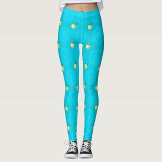 Blaues Zitronen-Muster Leggings