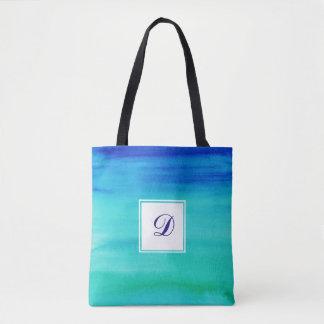 Blaues Zwei-Getontes Aquarell-Monogramm Tasche