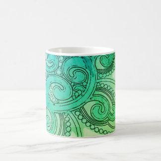 "Blaugrüne ""Gehirn-Wellen-"" Entwurfs-Tasse Kaffeetasse"