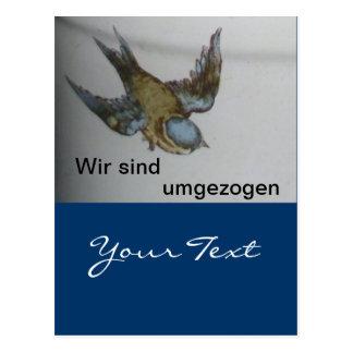 Blaumeise-umzug-postkarte Postkarten