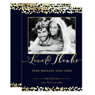 Blauu. Goldconfetti-Foto-Hochzeit danken Ihnen Karte