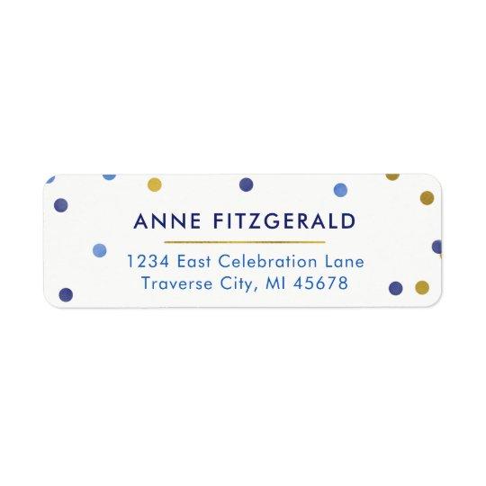 Blauu. Goldconfetti-Rücksendeadressen-Aufkleber Rückversand-Adressaufkleber