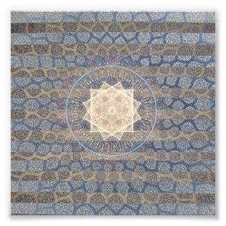 Blauund Goldstammes- Sun-Blatt-Muster Striped Kunst Fotos