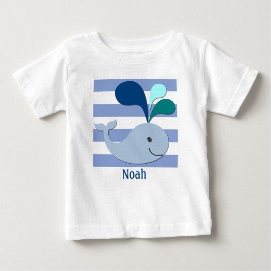 Blauwal auf blauem gestreiftem Hintergrund-Shirt Baby T-shirt