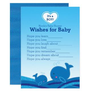 Blauwal-Wünsche für Babyparty-Spiel Karte