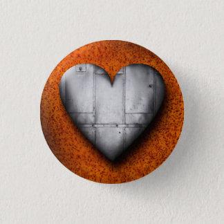 Blech-Herz auf rostigem Hintergrund-Knopf Runder Button 3,2 Cm