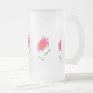 Bleistift gezeichnete rosa unbedeutende Blume Matte Glastasse