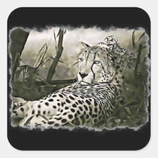 Blendend Gepard-Schwarz-Aufkleber Quadratischer Aufkleber