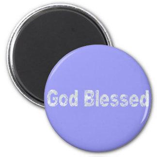 Bleu affectueux de clair de Gris béni par Dieu Magnets Pour Réfrigérateur