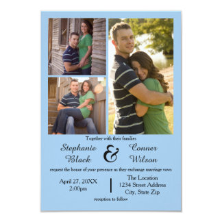 Bleu de 3 photos - faire-part de mariage 3x5
