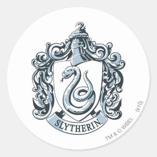 Bleu de crête de Slytherin Adhésif Rond