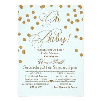 Bleu de scintillement et invitation de baby shower