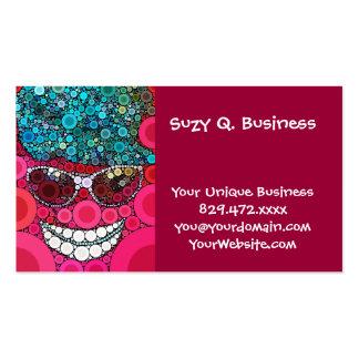 Bleu de sourire frais génial de rose de chapeau de carte de visite standard