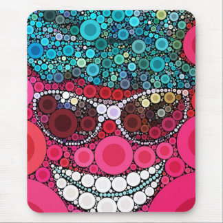 Bleu de sourire frais génial de rose de chapeau de tapis de souris
