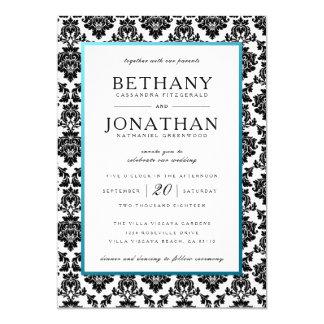 Bleu de Tiffany et invitation de mariage damassé