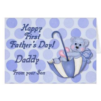 Bleu d'ours de parapluie - première fête des pères carte de vœux
